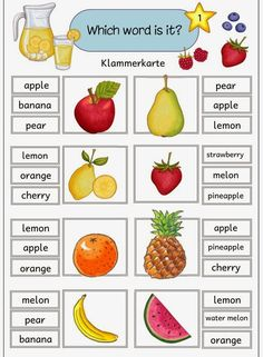 Five staple cards with English fruit terms With these five staple cards . English Activities For Kids, Learning English For Kids, English Worksheets For Kids, English Lessons For Kids, Kids English, Preschool Worksheets, Teaching English, Learn English, English Phonics