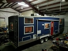 For sale. Started as 2004 Keystone Montana Mountaineer 34ft 5th Wheel Bunk House with 2 Slide Outs model 318BHS. Striped down and rebuild with light weight durable design materials. The exterior has brand new marine coating navy blue paint with window and side trim. Accent red door and white and blue awning in great shape.…