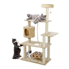 55' Deluxe Cat House Condo Cat Tree Scratchers Post Toys Scratch Pet Furniture (Cream) *** More info could be found at the image url. (This is an affiliate link and I receive a commission for the sales)