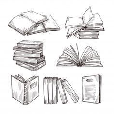 Ink drawing vintage open book and books pile. School education and library doodle vector symbols. Education book sketch, pile of literature drawing illustration , Open Book Drawing, Library Drawing, Easy Drawings, Tattoo Drawings, Pen Drawings, Drawing Tips, Drawing Sketches, Tattoo Buch, Fleurs Art Nouveau