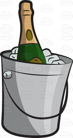 A chilled bottle of Champagne #cartoon #clipart #vector #vectortoons #stockimage #stockart #art