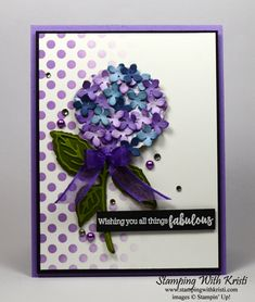 Stampin' Up! Hydrangea Haven Card for the Happy Inkin' Thursday Blog Hop - Stamping With Kristi Posy Flower, Lilac Flowers, Tiny Flowers, 21 Cards, Leaf Outline, Healing Hugs, Whole Image, All Things Fabulous, Hand Stamped Cards
