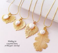 Bridal Wedding Necklace Group, FOUR (4) Real Gold Plated leaves, Freshwater pearls, chain choice