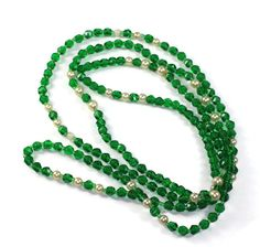 Art Deco Flapper Green Crystal Necklace Faux Pearls Vintage Extra Long #artdeco #crystals #green