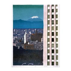Haiwara Hideo (1913-2007) In the Valley Between the Buildings, From Thirty-Six Fujis - colour woodblock print 1986 British Museum