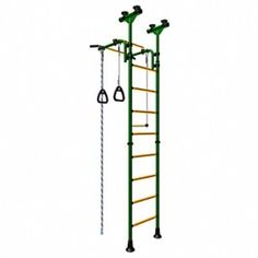 Playground Set for Kids Which Connects to the Floor and Ceiling - Indoor Gym Training Sport Set with Accessories Equipment: Trapeze Bar Swing Set, Climber, Climbing Jump Rope, Gymnastic Rings - Suit for Backyards, Schools and Doorway - Comet 5 (Green)