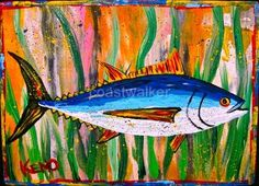 ALBACORE TUNA~ FiSH painting~Abstract FOLK ART outsider~Maine~COASTWALKER | eBay