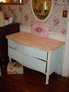 Antique Dresser Painted Oak Vintage Roses by SimplyCottageChic