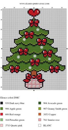 Embroidery Hoop Crafts, Christmas Embroidery Patterns, Christmas Tree Pattern, Embroidery Patterns Free, Hand Embroidery Designs, Christmas Cross, Beading Patterns, Cross Stitch Pattern Maker, Cross Stitch Patterns