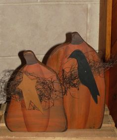 Pumpkins With Folk Star and Crow                              …