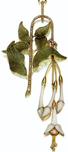 An Art Nouveau Gold, plique-à-jour enamel, opal and diamond pendant, Henri Vever, circa 1900. Designed as a slender curving branch set with rose-cut diamonds, bearing green plique-à-jour enamel leaves and an articulated fringe of opal fuchsia blossoms, the largest set with old European-cut diamonds, signed Vever, with gilt embossed leather case stamped on silk 'Ane Mon Marret & Baugrand, Vever 19 Rue de la Paix 19 Paris Grand Prix Expon Univle Paris 1889. #HenriVever #ArtNouveau #pendant