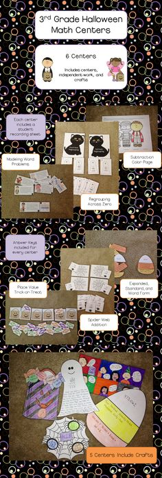 6 Halloween Math Centers for 3rd grade - 5 of them with crafts;  Covers addition, subtraction, and place value $