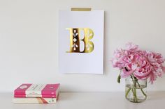Letter / Initial - Gold & Silver Foil A4 Print- Nursery Art on Etsy, $26.95 AUD
