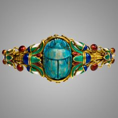 Jewelry | An Egyptian Revival Style Gold and Enamel Scarab Bracelet - The Curator's Eye