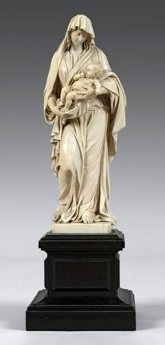The Virgin with Child, signed by Louis Raymond Brunel (1818-1882) in 1857 - Ivory