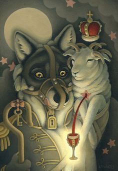 """""""The Protector"""" Art by Heather Watts #wolf #sheep #painting"""