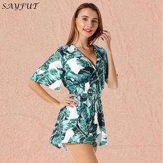 Lace up Leaf print sexy jumpsuit Boho green rompers women jumpsuit 2018 Summer Elegant Beach Party Overalls summer jumpsuit Rompers Women, Jumpsuits For Women, Summer Jumpsuit, Boho Green, Leaf Prints, Beach Party, Overalls, Wrap Dress, Lace Up