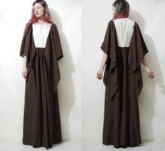 Maxi Dress 70s Vintage ANGEL SLEEVE Long Chocolate by cruxandcrow