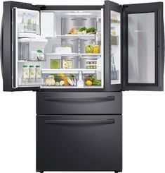 French Door Counter Depth Refrigerator with Food Showcase Fingerprint Resistant Black Stainless Steel at Best Buy. Find low everyday prices and buy online for delivery or in-store pick-up. Counter Depth Refrigerator, Refrigerator Freezer, French Door Refrigerator, Door Storage, Storage Drawers, Samsung, Conservation, Led Light Design, Black Stainless Steel