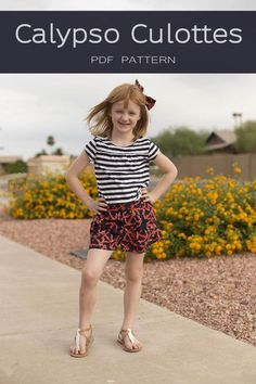 GIrls culottes PDF sewing pattern! Cute like a skirt but functional like shorts! Let your girls run and play with freedom and style in these cute shorts and cropped pants. size 12 months to 14 years