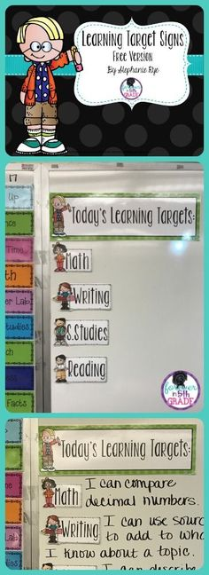 Free or editable learning targets!  Read about making a learning target section of your board at Forever in Fifth Grade!