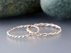 14k Gold Rope Twist Wedding Ring Set - 1.6mm and 2mm Wide Two Tone Wedding Bands in 14k Rose, White or Yellow Gold - All Wrapped Up in You. $425.00, via Etsy.