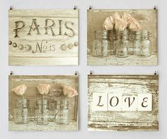 Rustic French Cottage Decor, Shabby Cottage Chic Photo Set, Wall Art Gallery, Sepia Art, Romantic Prints, Peach Rose Photo, Mason Jar Art by StudioSwede13 on Etsy https://www.etsy.com/listing/254513781/rustic-french-cottage-decor-shabby