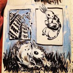 Yesterday's #inktober #inktober2016 #sketchbook #inking #rabbit #building #parallelpen #inkwash
