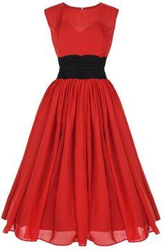 Lindy Bop Classic Elegant Vintage 1950s Chiffon Dress