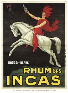 Antique French RUM, ALCOHOL advertising poster - 1920s horse