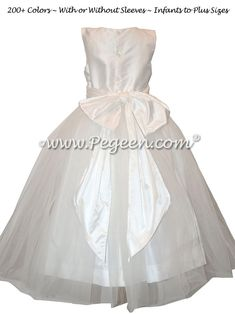 Pure White Tulle and Antique White Silk First Communion Dress Style 356 White Communion Dress, First Communion Dresses, White Flower Girl Dresses, Girls Dresses, Cotillion Dresses, Organza Dress, White Tulle, Dress Images, Style And Grace