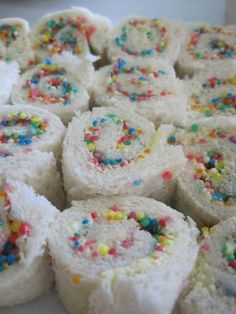 "Fairy Bread ""sushi"" rolls"