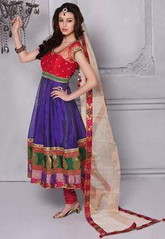 Beautiful Red and Purple Chanderi Silk Churidar Kameez Online Shopping: KCR4329. Utsavfashion.com