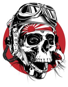 Kamikaze Pilot illustration on Behance Kamikaze Pilots, Totenkopf Tattoos, Desenho Tattoo, Oldschool, Skull Tattoos, Tatoos, Skull And Bones, Skull Art, Skull Stencil