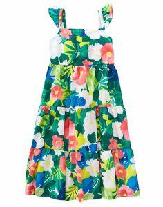 NWT Gymboree SUNNY SAFARI Island Floral Tropical Tiered Midi Dress Sz 4 5 6 7 8  #Gymboree #140154629GYM001 #ChurchEasterEverydayPartyBeachVacation