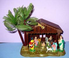 VINTAGE CHRISTMAS HARD PLASTIC NATIVITY CRECHE W/ REMOVABLE PALM HONG KONG in Collectibles, Holiday & Seasonal, Christmas: Modern (1946-90)   eBay