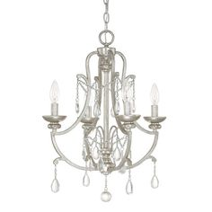 Featuring teardrop crystal accents and an antique silver finish, this glamorous mini chandelier draws the eye in any space.Product: