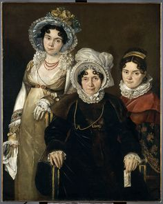 Anonymous, Les trois dames de Gand My note: No date but I LOVE this...especially the one on the left...portraits are always good because they're real...keep in mind the subjects are usually wearing their best stuff...notice the [probably] coral necklace