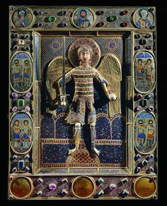 Byzantine Antependium, Altar cloth, c. Venice, Italy Archangel Michael with century. Byzantine Icons, Byzantine Art, Art Antique, Antique Books, Ancient Romans, Ancient Art, Origin Of Christianity, Christian Artwork, Bijoux Art Deco