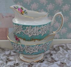 Royal Albert Enchantment Large Milk Jug and Open Sugar Bowl Set, Vintage English Turquoise, Floral, Gilt , Excellent Condition 1st Quality by ImagineHowCharming on Etsy