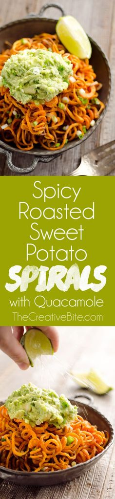 Spicy Roasted Sweet Potato Spirals with Guacamole is an amazingly delicious meatless dinner or appetizer with crispy sweet potatoes coated in garlic & chili powder and topped with a zesty guacamole. #SideDish #Appetizer #Vegan #Vegetarian