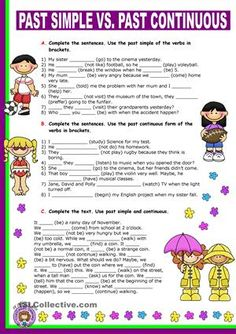 This is a worksheet I prepared last year for my elementary students as an introduction of these tenses. I hope you like it. - ESL worksheets