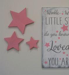 Girls Nursery Decor Wood Star Cutout Light Pink And Gray Nursery Above Crib Decor Shabby Chic Nursery Baby Shower Gift Handmade