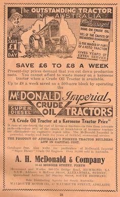 """""""The outstanding tractor in Australia. a crude oil tractor at a kerosene tractor price"""" - A. Tractor Price, Australian Vintage, Crude Oil, Down On The Farm, Present Day, Perth, Vintage Posters, Ephemera, Avon"""