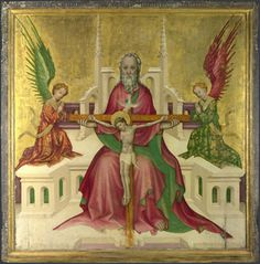 The Trinity with Christ Crucified, c.1410, Austrian, representing a throne of mercy. (National Gallery)