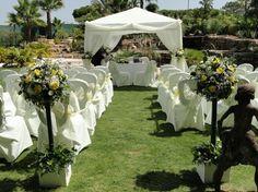 Yellow White wedding ceremony Algarve Portugal by Algarve Wedding Planners