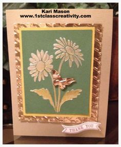 An Ombre Effect on Embossing Paste.  Card Used a Stencil and Craft Metal to give it a beautiful look!