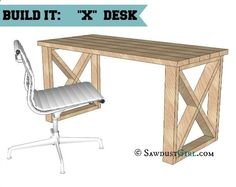 X Leg Desk Plans looks like a basic DIY project that you could finish a thousand different ways. Would fit in with rustic, barn decor nicely.
