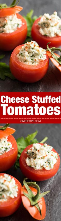 Cheese Stuffed Tomatoes are simple yet the best summer appetizers. Ready in 5 minutes!