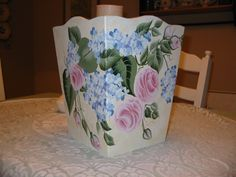 Hand Painted Roses & Hydrangea Waste Basket
